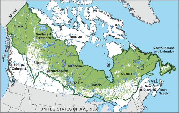 Map of human-related disturbances within Canada's Boreal forest:
